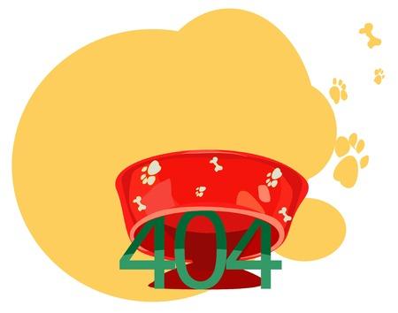 Illustrative representation of 404 error message under a dog bowl Ilustrace