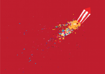 Diwali firework isolated on red background