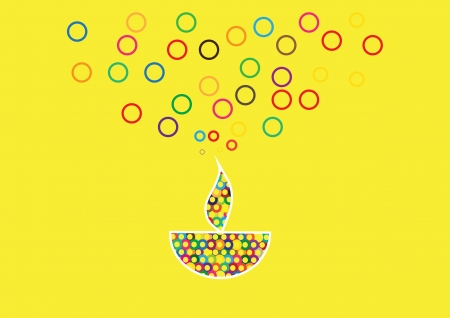 Diwali oil lamp isolated on yellow background Illustration