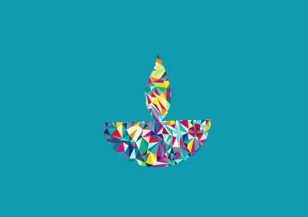 Diwali oil lamp isolated on turquoise background Illustration