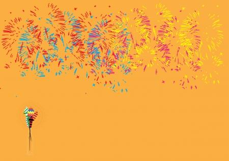 Diwali firework display isolated on orange background