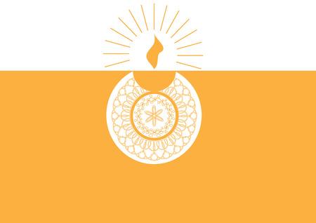 lampa naftowa: Diwali lampy naftowej samodzielnie na pomarańczowym i białym tle Ilustracja