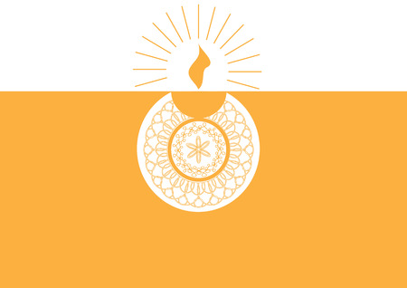 Diwali oil lamp isolated on orange and white background