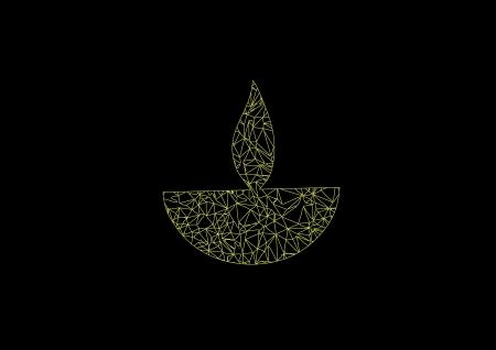 Diwali oil lamp isolated on black background Illustration