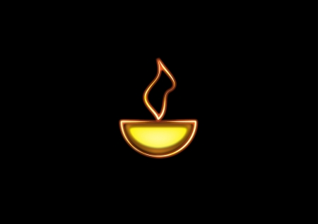 Diwali oil lamp glowing isolated on black background