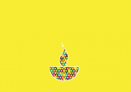 Diwali oil lamp isolated on yellow background 向量圖像