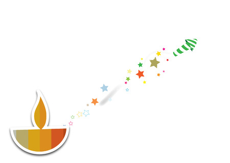 Diwali oil lamp with firework isolated on white background