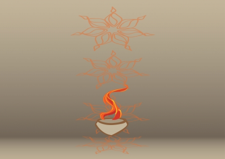 Diwali oil lamp isolated on colored background