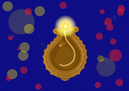 Diwali oil lamp glowing isolated on blue background 版權商用圖片 - 25089166