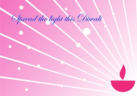 Diwali oil lamp glowing isolated on pink background Illustration