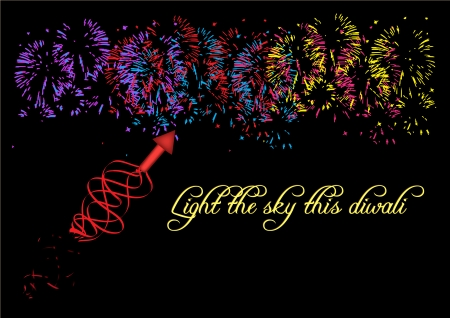 display: Diwali firework display isolated on black background