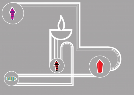 Diwali oil lamp with firecrackers isolated on gray background Illustration