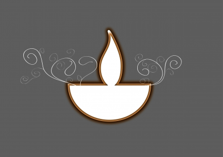 Diwali oil lamp isolated on gray background