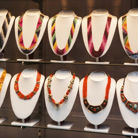 Necklaces in a store, Nepal