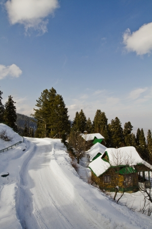 Snow covered tourist resort, Kashmir, Jammu And Kashmir, India
