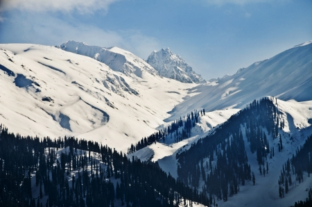 Snow covered mountains in winter, Gulmarg, Jammu And Kashmir, India Stock Photo