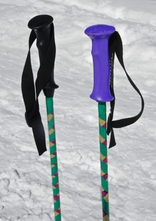 Ski poles in the snow, Gulmarg, Jammu And Kashmir, India