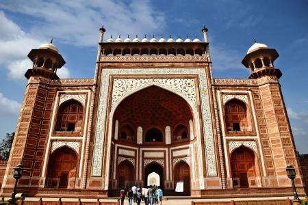 mughal: Tourists at the entrance to a mausoleum, Taj Mahal, Agra, Uttar Pradesh, India Editorial