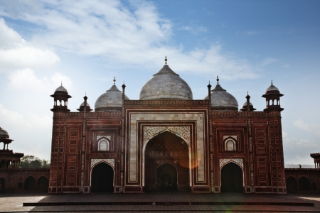 Facade of a mosque at Taj Mahal, Agra, Uttar Pradesh, India