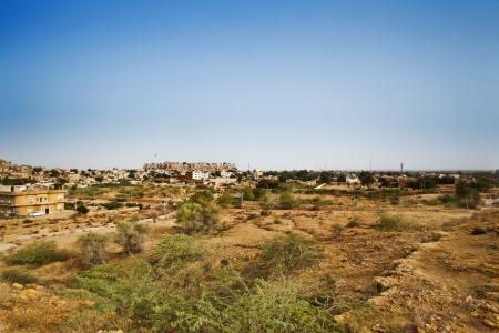 Bush on field with town , Jaisalmer, Rajasthan, India Stok Fotoğraf