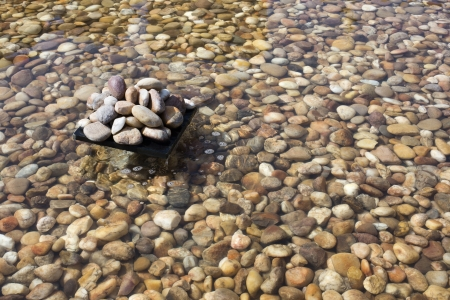 Pebbles in an artificial pond, Jaisalmer, Rajasthan, India