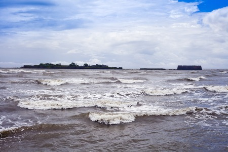 konkan: Clouds over the sea, Alibag, Raigad District, Konkan, Maharashtra, India Stock Photo