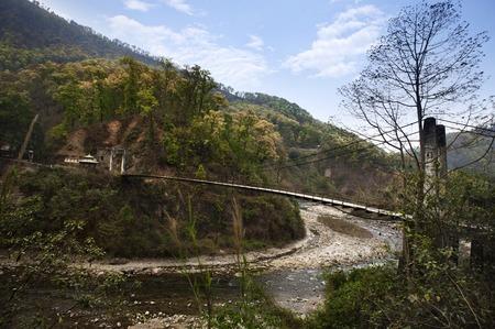 darjeeling: Suspension bridge over a river, Darjeeling, West Bengal, India