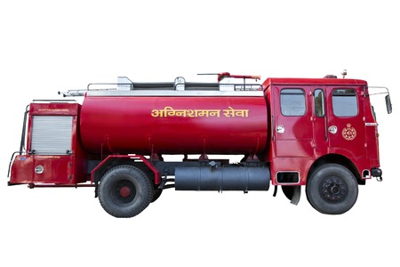 devanagari: Fire engine isolated over a white background