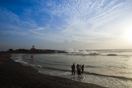 kovalam: Tourists on the beach, Kovalam, Kerala, India