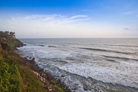 varkala: Surf on the beach, Varkala, Kerala, India Stock Photo