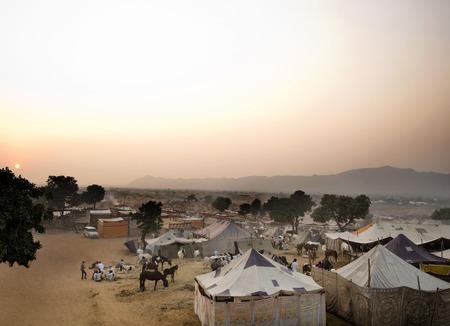 incidental people: Tents for temporary shelter at Pushkar Camel Fair, Pushkar, Ajmer, Rajasthan, India