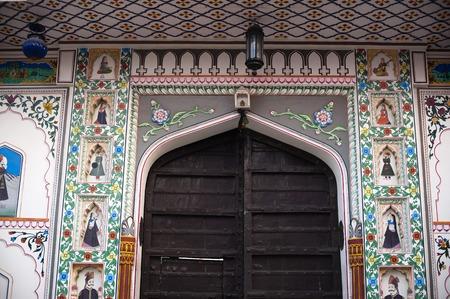 female likeness: Entrance of a building, Pushkar, Ajmer, Rajasthan, India