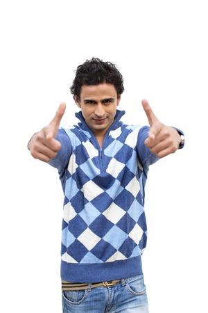 Portrait of a man gesturing photo