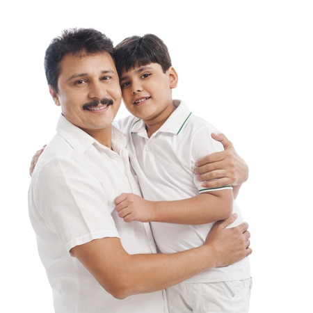 Portrait of man with his son photo