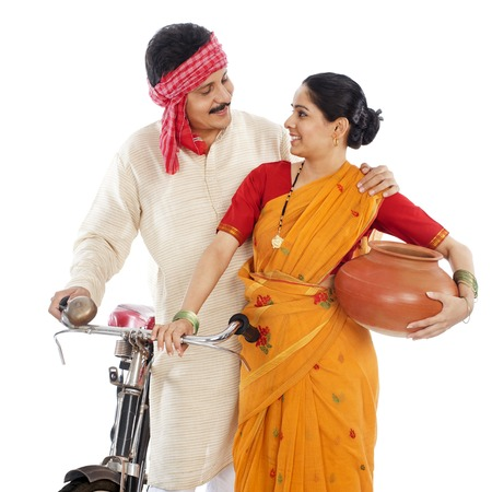 Close-up of a couple with bicycle photo