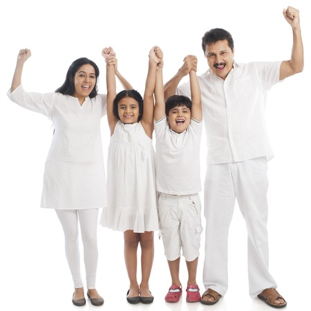 Portrait of a smiling family having fun photo