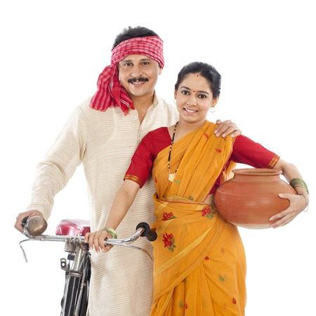 Portrait of a couple with bicycle photo