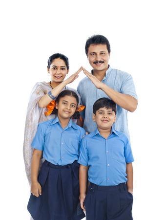 uniform skirt: Portrait of a happy family