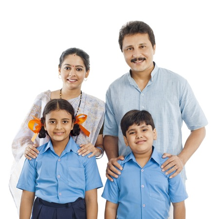 indian school girl: Portrait of a happy family