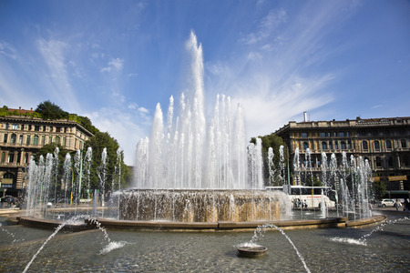 sforzesco: Fountain at Castello Sforzesco, Milan, Lombardy, Italy