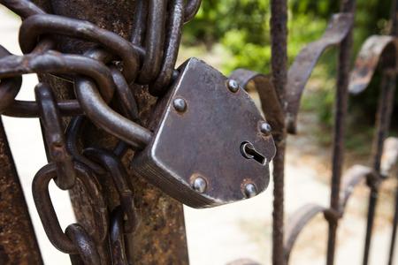 uttar pradesh: Close-up of a lock on a gate, Shravasti, Uttar Pradesh, India