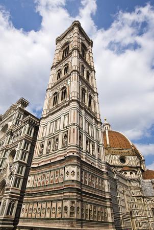 Campanile Di Giotto with Duomo Santa Maria Del Fiore, Piazza Del Duomo, Florence, Tuscany, Italy Standard-Bild