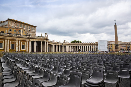 Empty seats at St. Peters Square, Vatican City, Rome, Rome Province, Italy Editöryel