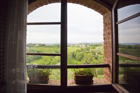 Bäume auf einem Hügel über betrachtet aus einem Fenster, Siena, Provinz Siena, Toskana, Italien Standard-Bild - 33377615