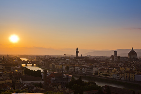 Palazzo Vecchio and Duomo Santa Maria Del Fiore at dusk, Florence, Tuscany, Italy