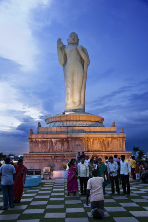 andhra: Lord Buddha Statue, Hussain Sagar Lake,  Hyderabad, Andhra Pradesh, India