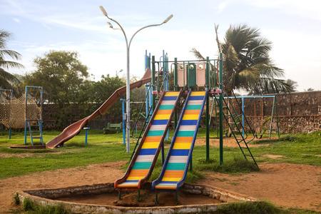 andhra: Slides in a park, Visakhapatnam, Andhra Pradesh, India
