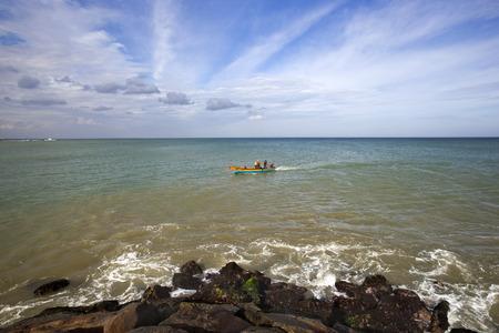 tamil nadu: Boat moving in the Laccadive Sea, KanyaKumari, Tamil Nadu, India