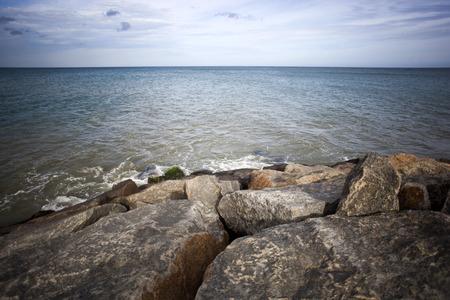 tamil nadu: Rocks on the coast, Laccadive Sea, KanyaKumari, Tamil Nadu, India