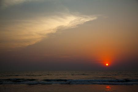 Sunset over the sea, Goa, India Standard-Bild